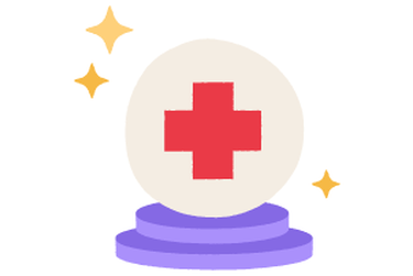 A crystal ball with a hospital red cross.