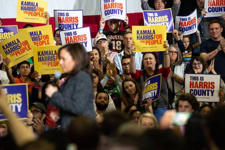 The crowd cheers for Democratic 2020 presidential candidate and Sen. Kamala Harris at a campaign event at Texas Southern University on Saturday, March 23, 2019 in Houston, TX.