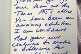 A note from Texas Attorney General Ken Paxton to former aide Blake Brickman.