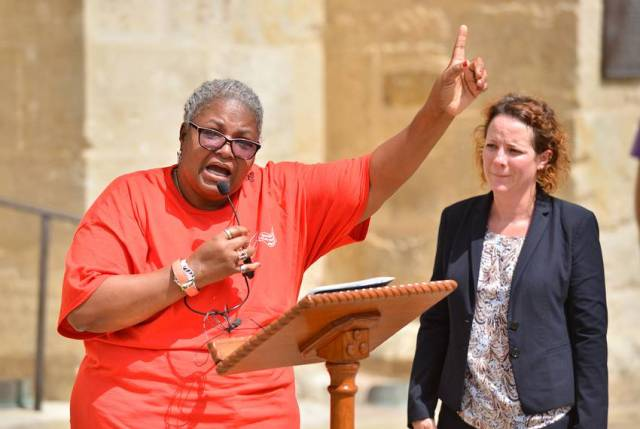 Valerie Harris, Christopher Young's aunt and spiritual adviser, speaks during a press conference on Main Plaza in San Antonio on July 10, 2018. Young is scheduled for execution next week.