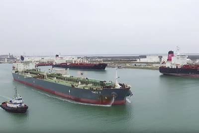 On Jan. 4, 2016, ConocoPhillips became the first company to export U.S. crude oil following the reversal of a 40-year-old ban. The Theo T is shown exiting the Port of Corpus Christi with an inaugural shipment, headed for Europe.