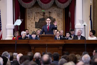 State Rep. Dennis Bonnen, R-Angleton, speaks after being elected Speaker of the House on Tuesday, Jan. 8, 2019.