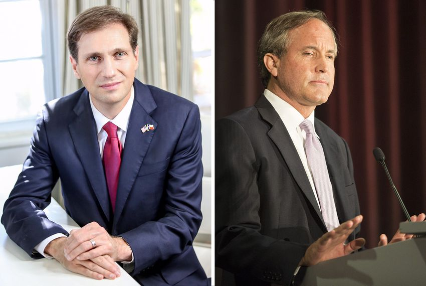 Austin lawyer Justin Nelson (left) and Texas Attorney General Ken Paxton.