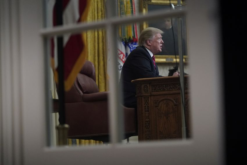 President Donald Trump delivers a televised address to the nation about immigration and the southern U.S. border during a weeks-long partial government shutdown on Tuesday.