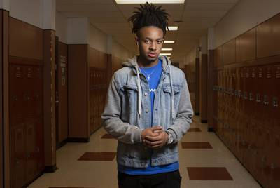 """""""We already get profiled based on the clothes we wear, how we look, our hair, what color our eyes are — and the main thing is the color of our skin,"""" says Ahmir Johnson, a Round Rock High School senior."""