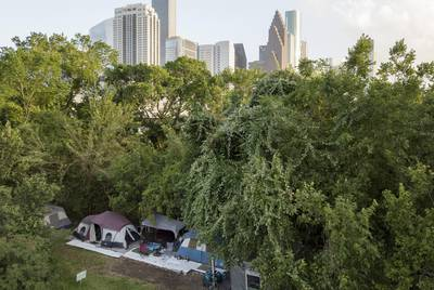 A large homeless camp near downtown Houston on June 23, 2019.