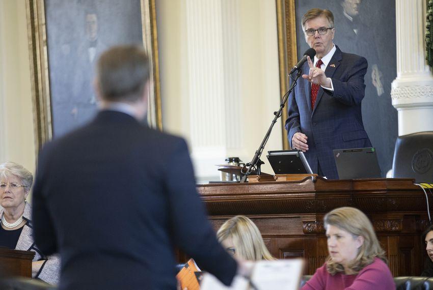 Lt. Gov. Dan Patrick speaks from the dais in the Senate chamber.