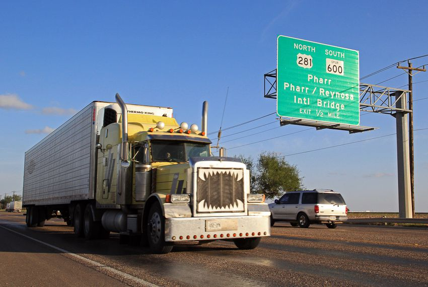 A truck travels on TX-281 Military Highway in Pharr, Texas.