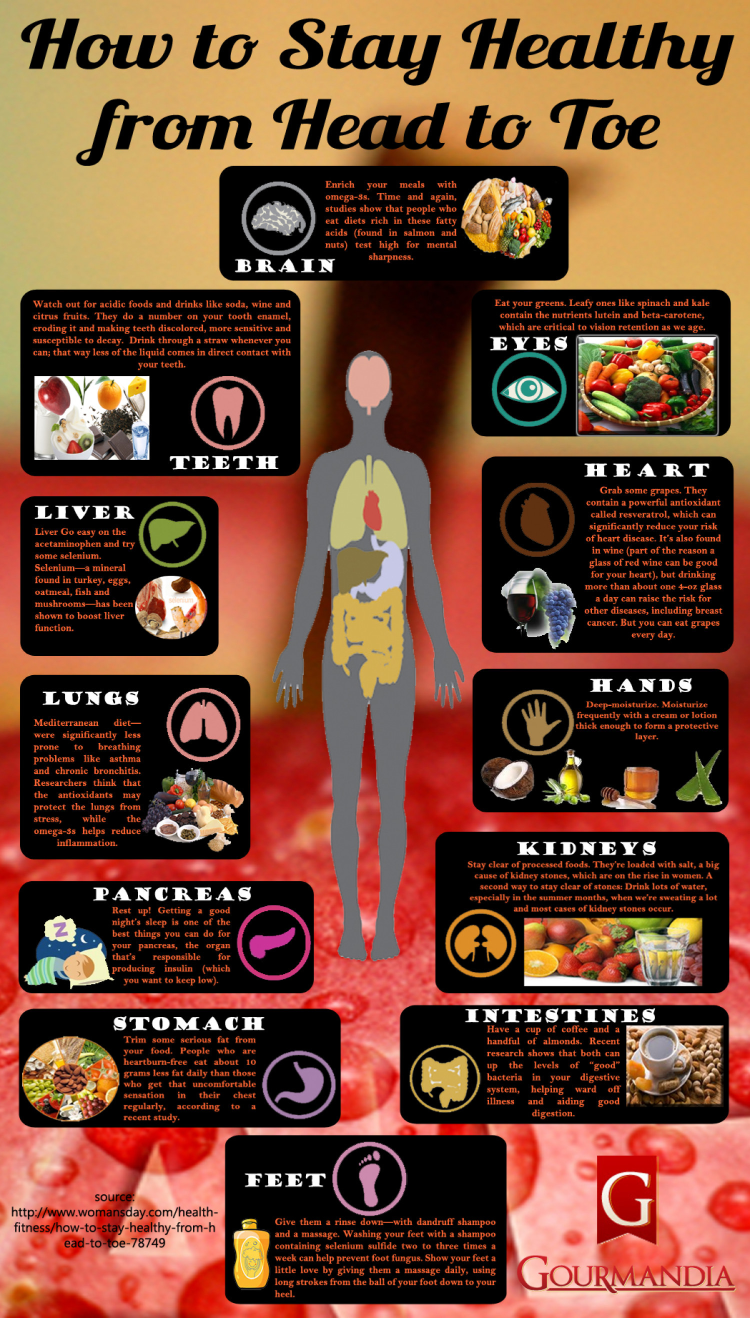 Easy Tips To Remain Healthy From Head To Toe Infographics