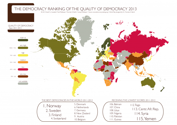 The Democracy Ranking of the Quality of Democracy 2013
