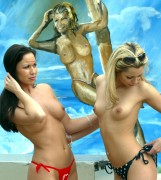 Jessica Jane Clement and Justine Lowes tits on the beach