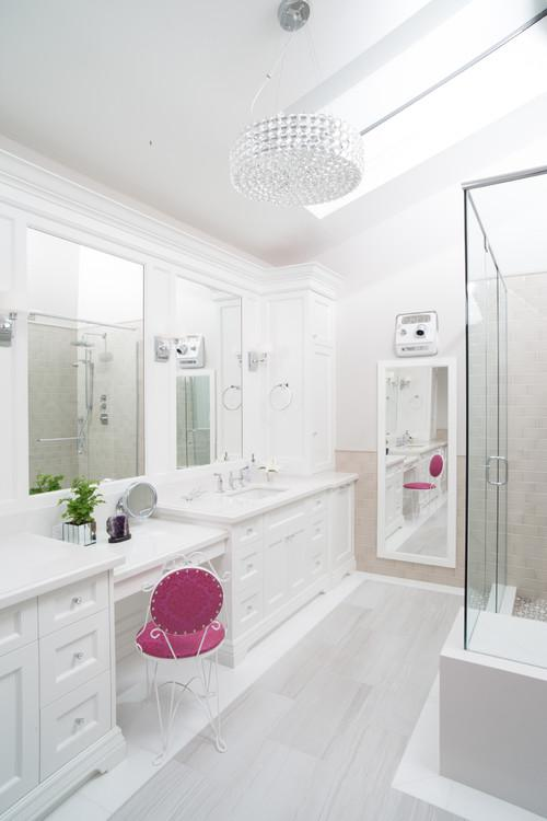 Double Vanity With Makeup Area Dimensions Vanity Ideas