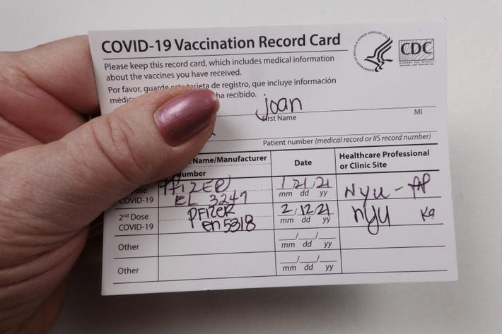 Keep Your Covid-19 Vaccination Card Safe — You're Going To Need It