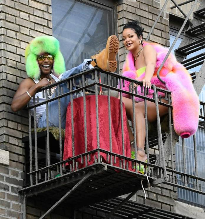 Rihanna (R) and A$AP Rocky are seen filming a music video in the Bronx on July 11, 2021 in New York City.