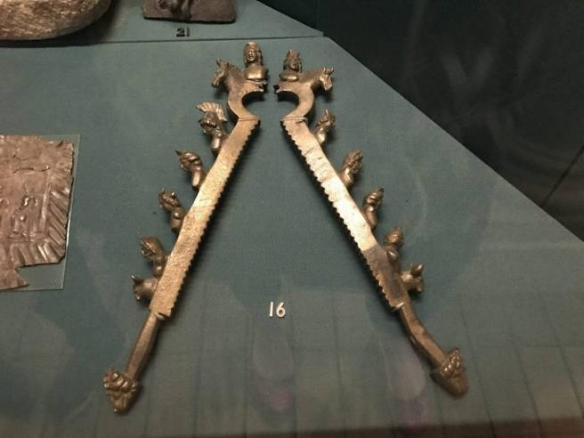 Bronze ritual Roman era castration clamps found in the river Thames and now at the Museum of London.