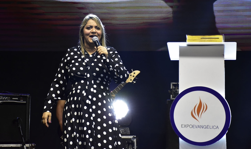 Ivna Medeiros foi a preletora do Encontro de Mulheres na ExpoEvangélica 2019. (Foto: Guiame/Irion Oliveira)