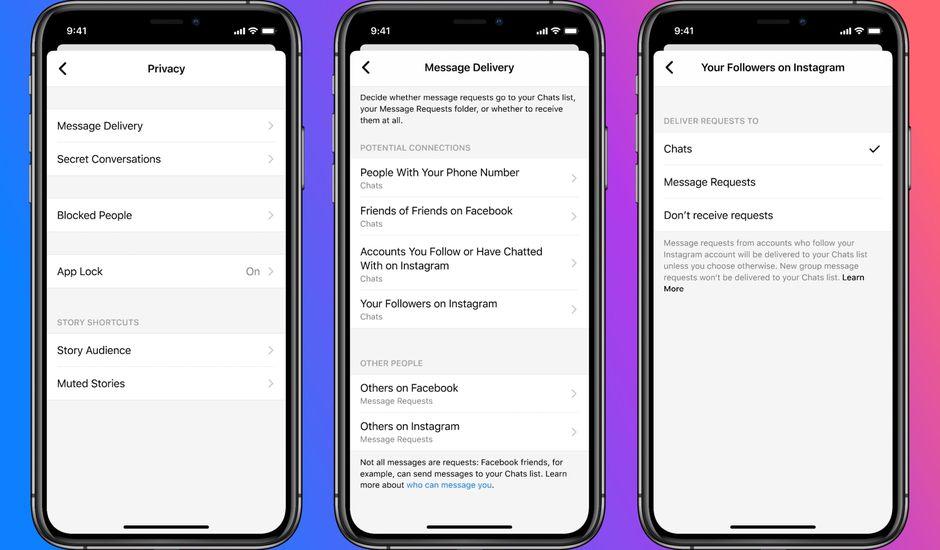 Ecrans Messenger présentant les fonctionnalités de lutte contre les messages indésirables