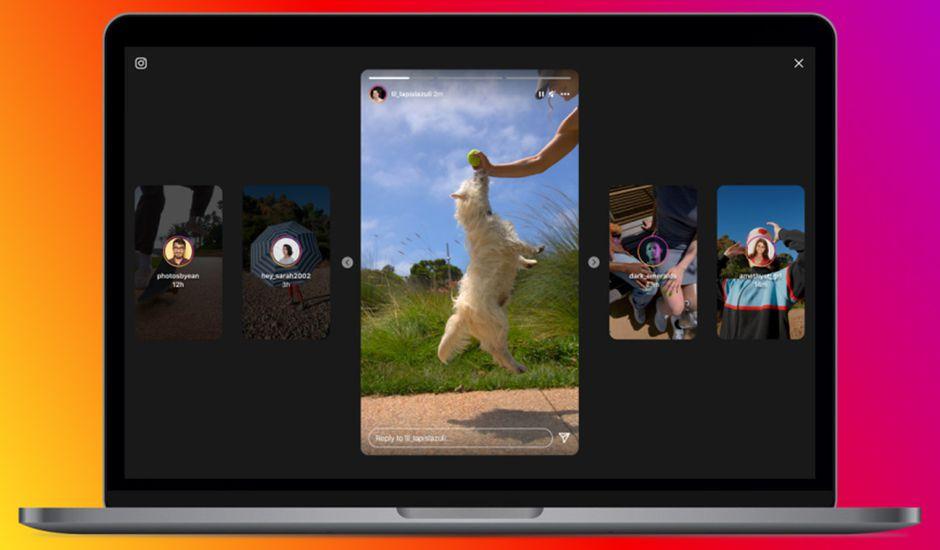 La nouvelle interface des stories Instagram sur ordinateur.