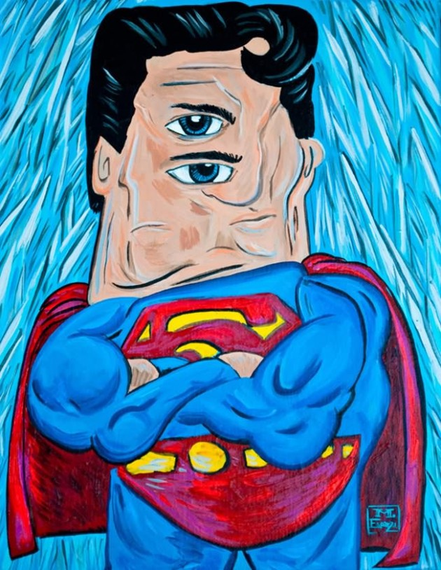 Super Man Painting 630x814 What If Picasso Painted Superheroes?