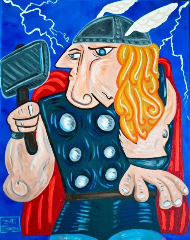 Thor Painting 630x796 What If Picasso Painted Superheroes?