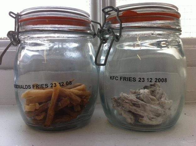 11. McDonald's and KFC fries that were left in unopened Mason jars for three years. The Biggest WTF & Fails From McDonalds — 20 Pics
