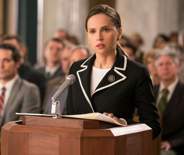 Felicity Jones Playing Future Supreme Court Justice Ruth Bader Ginsburg Makes The Oral Argument For Moritz In A Scene From On The Basis Of Sex