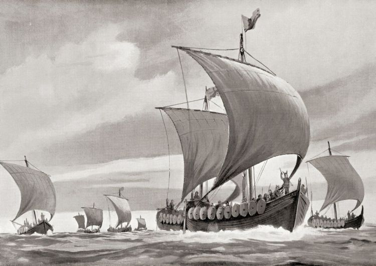 Viking ships on a raid