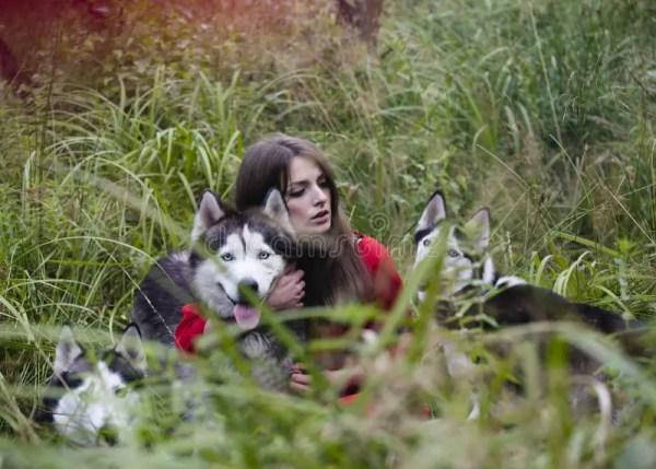 Женщина на красном платье с собаками Стоковое Фото ...