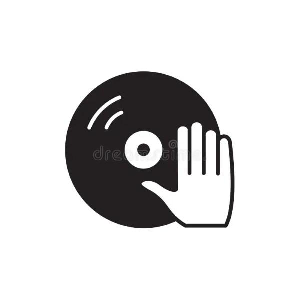 Значок руки винила и Dj вектор символа регулирования ...