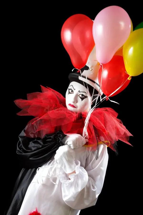 Несчастный клоун с воздушными шарами Стоковое Фото ...