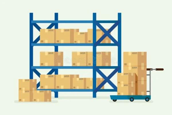 Полки и картонные коробки склада вектор иллюстрации ...