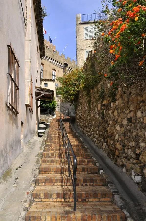 село улицы Франции cagnes стоковое изображение ...