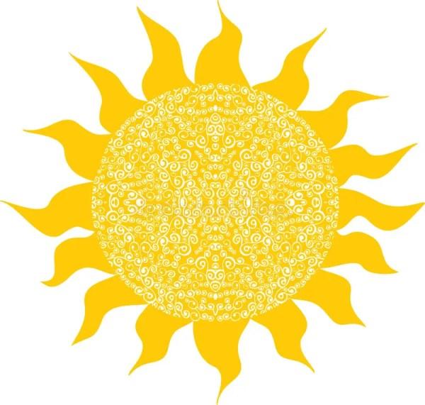 Стилизованное солнце, дизайн символа Иллюстрация вектора ...