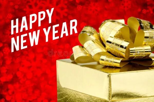 Счастливое слово Нового Года с золотой подарочной коробкой ...