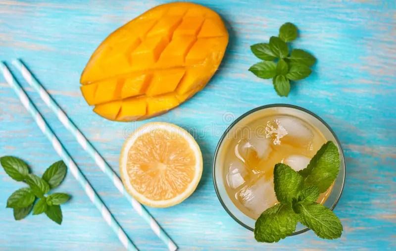 芒果冰茶用薄菏(頂視圖) 庫存圖片. 圖片 包括有 食物, 生氣勃勃, 汁液, 裝飾, 成份, 檸檬水, 沒人 - 72146099