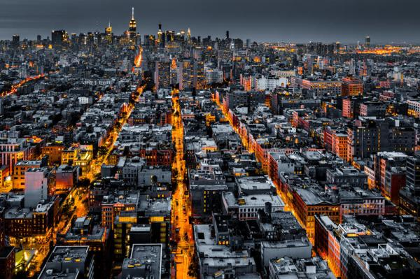 Aerial View Of New York City At Night Stock Image - Image ...