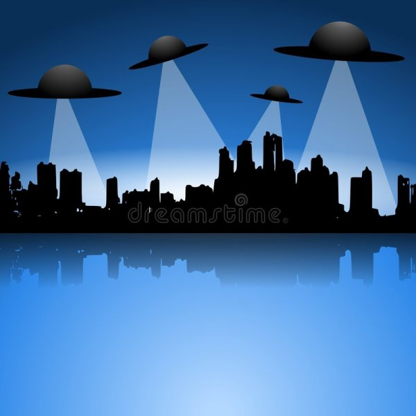 Alien Flying Saucers UFO Invasion Royalty Free Stock
