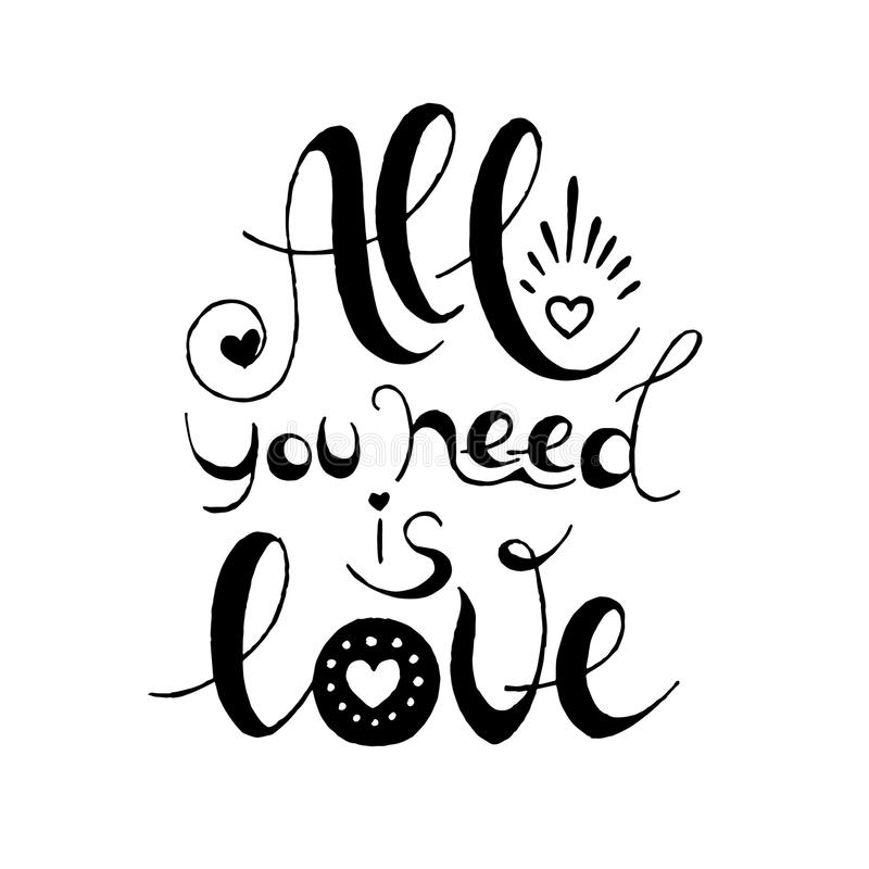 Download All You Need Is Love. Hand Drawn Typography Poster For ...