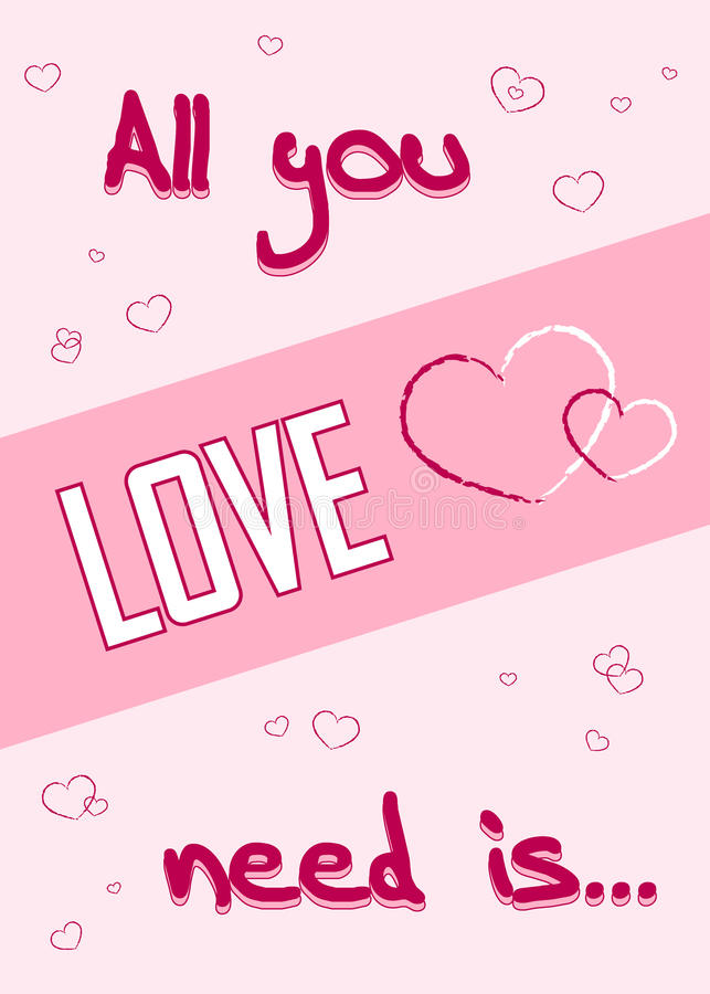 Download Love Is All You Need Typography Text With Love Heart Stock ...
