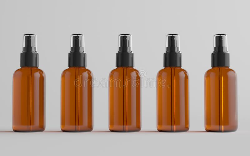 Display your design in a more efficient way on this cloudy amber plastic spray bottle mockup. Amber Spray Bottle Mockup Multiple Bottles 3d Illustration Stock Illustration Illustration Of Druggist Brown 184876866