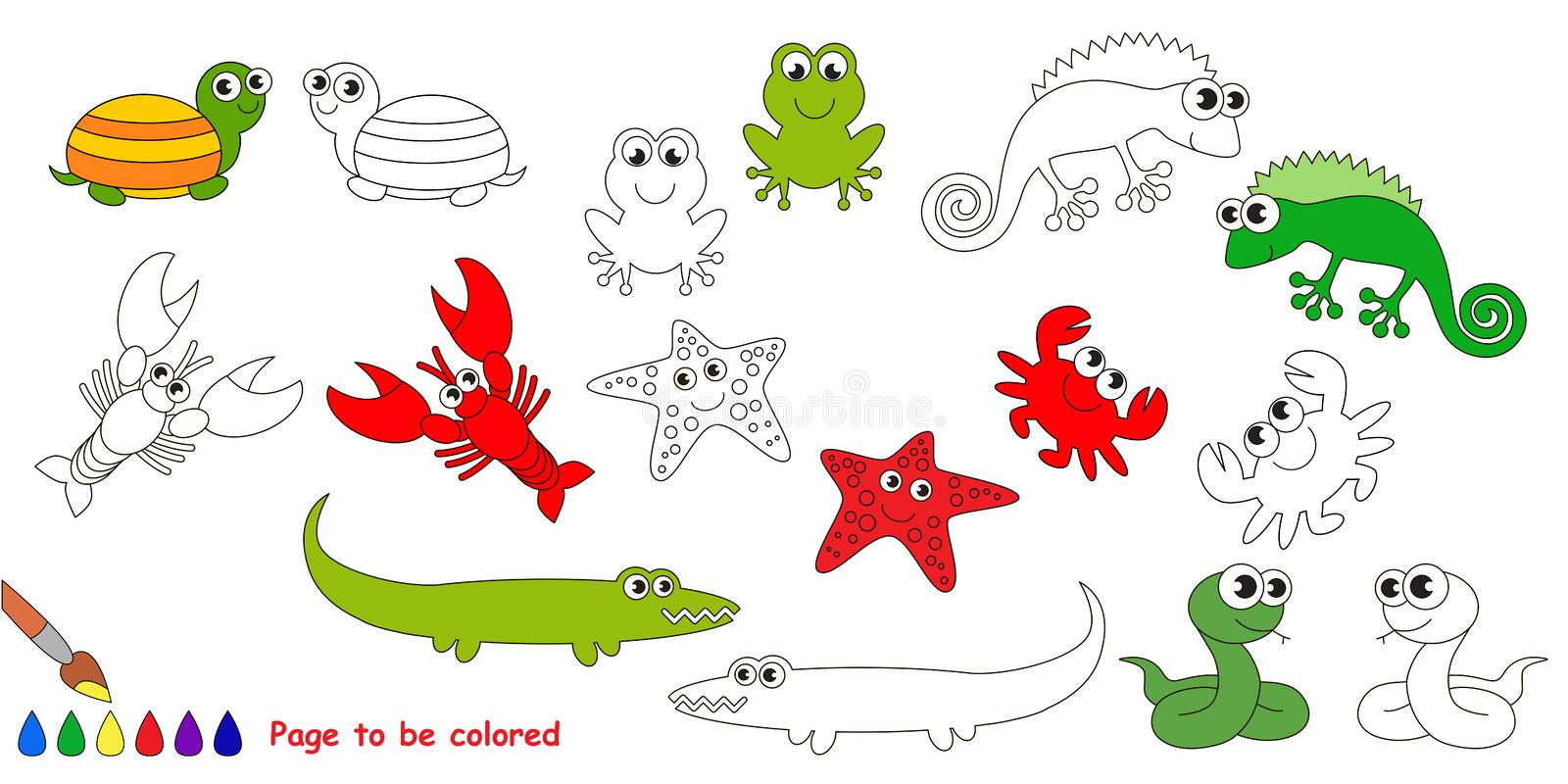 Iguana Cartoon Page To Be Colored Stock Vector