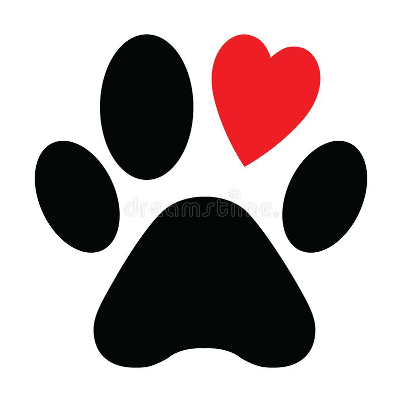 Download Animal Love Symbol Paw Print With Heart, Isolated Vector ...
