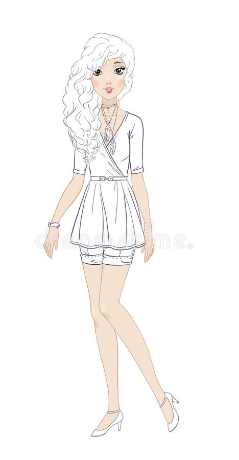 Fashionable Teen Girl In Beautiful Casual Outfit Coloring
