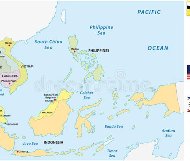 Association Of Southeast Asian Nations Asean Map With