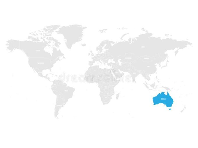 Australia Marked By Blue In Grey World Political Map  Vector     Download Australia Marked By Blue In Grey World Political Map  Vector  Illustration Stock Vector