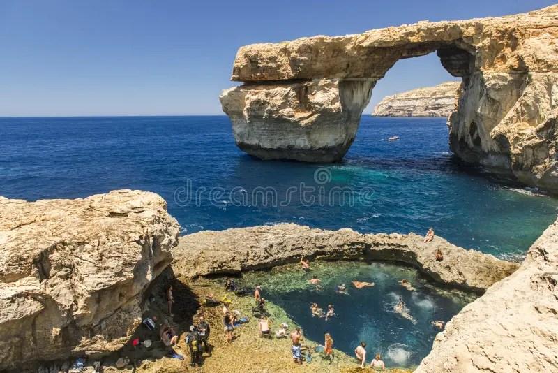 Azure Window Insel Von Gozo Malta Redaktionelles Foto