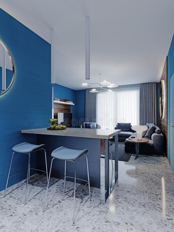 youth room with a bed and a desk with a laptop stock illustration illustration of apartment color 69033606
