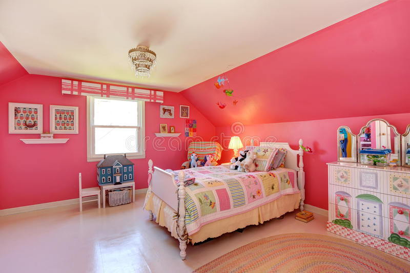 Beautiful Girls Room In Bright Pink Color Stock Photo ... on Beautiful Girls Room  id=23087