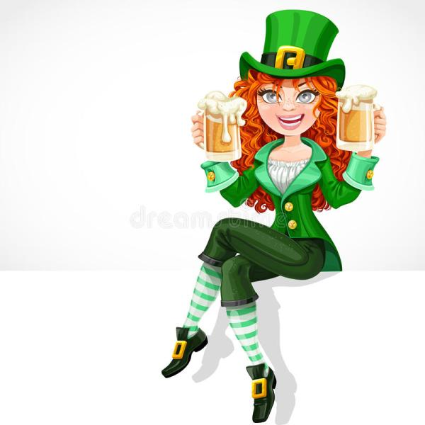 Beautiful Red-haired Girl Leprechaun Sitting On The Banner ...