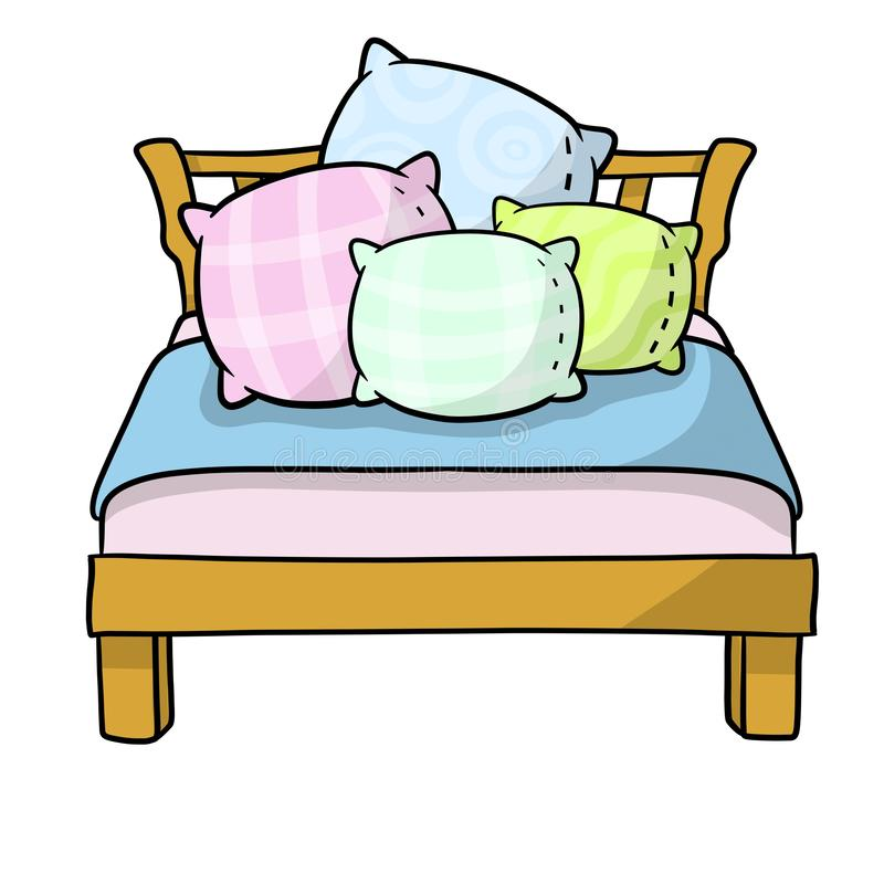 bed with soft four pillow stock vector